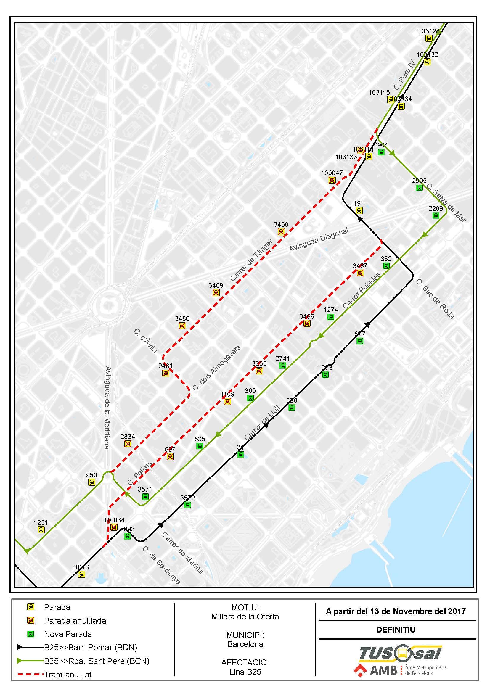 Desde el 13 de noviembre, mejoras en las líneas B20, B23 y B25